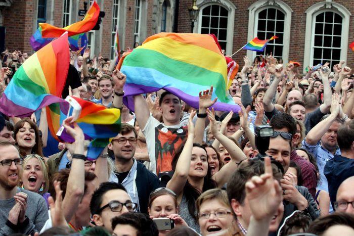 População festeja a vitória do SIM na Irlanda (AFP Photo / Paul Faith)