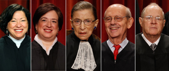 Juízes do Supremo Tribunal que votaram favoravelmente (entre outros): Sonia Sotomayor, Elena Kagan, Ruth Bader Ginsburg, Stephen Breyer and Anthony Kennedy. (Getty)