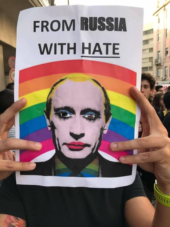 Protesto Contra campos de concentração homossexuais Thetchénia - Putin